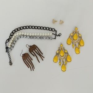 Yellow chandelier earrings, pearl bracelet, variou